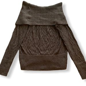 Off the shoulder brown knit sweater from FRANCE M